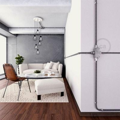 Kopplingsdosa i aluminium, fyrvägsvägs-X-koppling till Creative-Tube