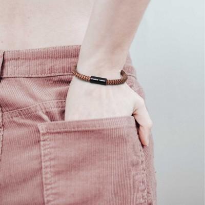 Armband av textilkabel med magnetlås - RZ23 Zig Zag Guld/Vinröd