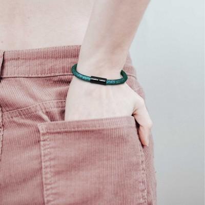 Armband av textilkabel med magnetlås - RM33 Emerald