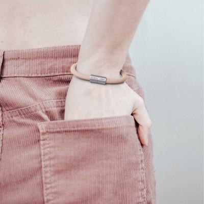 Armband av textilkabel med magnetlås - RD71 Zig Zag Gammelrosa linne
