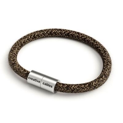 Armband av textilkabel med magnetlås - RN04 Linne Brun