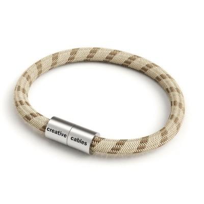 Armband av textilkabel med magnetlås - RD53 Linne/Bomull Brun