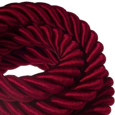 3XL elkabel 3x0,75. Glansig vinröd textil. Diameter 30mm.
