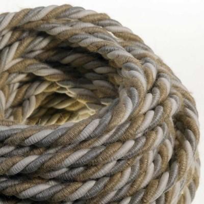 XL sladd, elkabel 3x0,75. Naturligt linne, bomullstyg och klädd i jute Country. 16mm diameter.