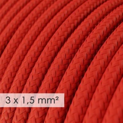 Kraftig rund textilkabel 3x1,50 - viskos Röd RM09