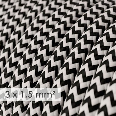 Kraftig rund textilkabel 3x1,50 - viskos ZigZag Svart RZ04
