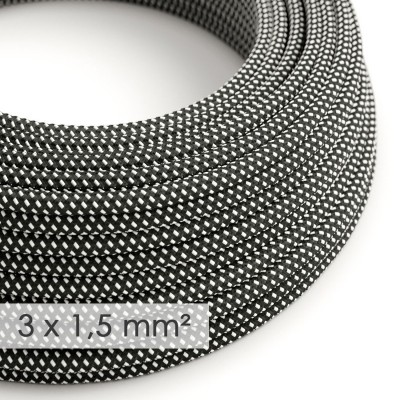 Kraftig rund textilkabel 3x1,50 - viskos 3D Svart & Vit RT41