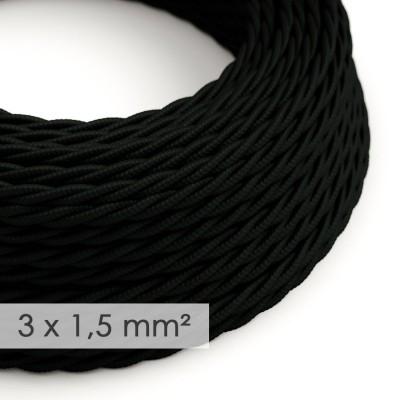 Kraftig tvinnad textilkabel 3x1,50 - viskos Svart TM04
