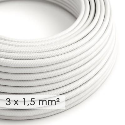 Kraftig rund textilkabel 3x1,50 - Viskos Vit RM01