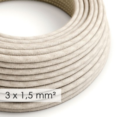 Kraftig rund textilkabel 3x1,50 - naturlitg linne RN01