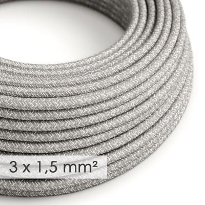 Kraftig rund textilkabel 3x1,50 - naturligt linne grå RN02