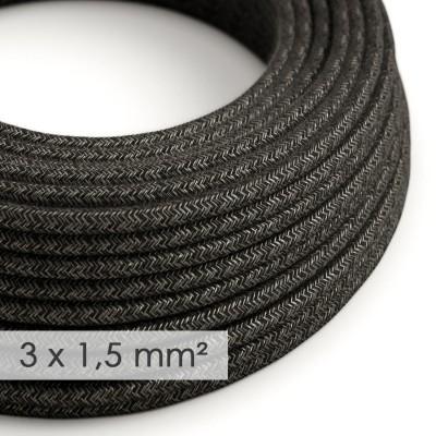 Kraftig rund textilkabel 3x1,50 - naturligt linne antracitgrå RN03