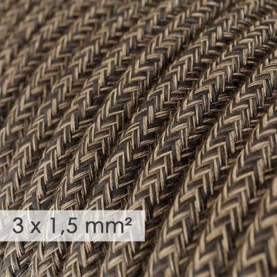 Kraftig rund textilkabel 3x1,50 - naturligt linne brun RN04