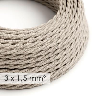 Kraftig tvinnad textilkabel 3x1,50 - naturligt linne TN01