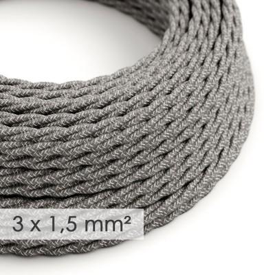 Kraftig tvinnad textilkabel 3x1,50 - naturligt linne grå TN02