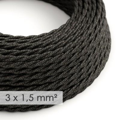 Kraftig tvinnad textilkabel 3x1,50 - naturligt linne grå TN03