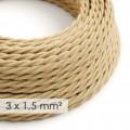 Kraftig tvinnad textilkabel 3x1,50 - jute TN06