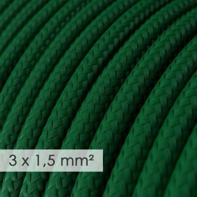 Kraftig rund textilkabel 3x1,50 - Viskos Mörkgrön RM21
