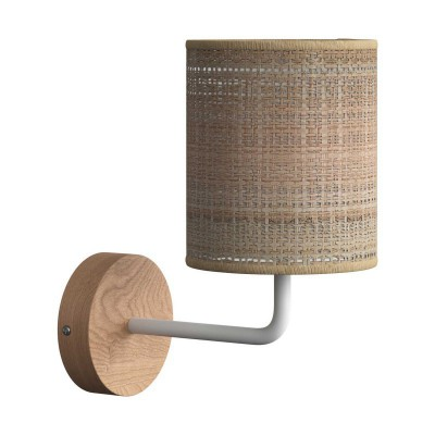Fermaluce Wood, ceramics wall light with lampshade and bent extension