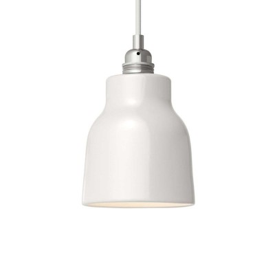 Pendant lamp with textile cable, Vase ceramic lampshade and metal details - Made in Italy