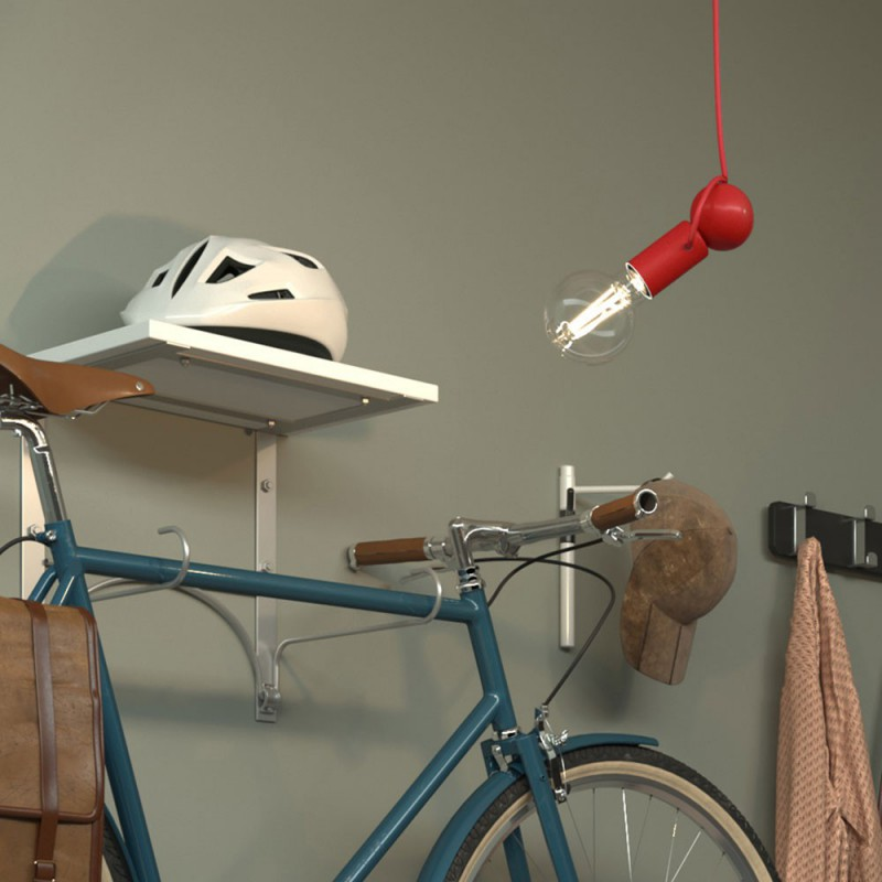 Magnetico®-Pendel suspension lamp with textile cable and adjustable magnetic lamp holder - Made in Italy