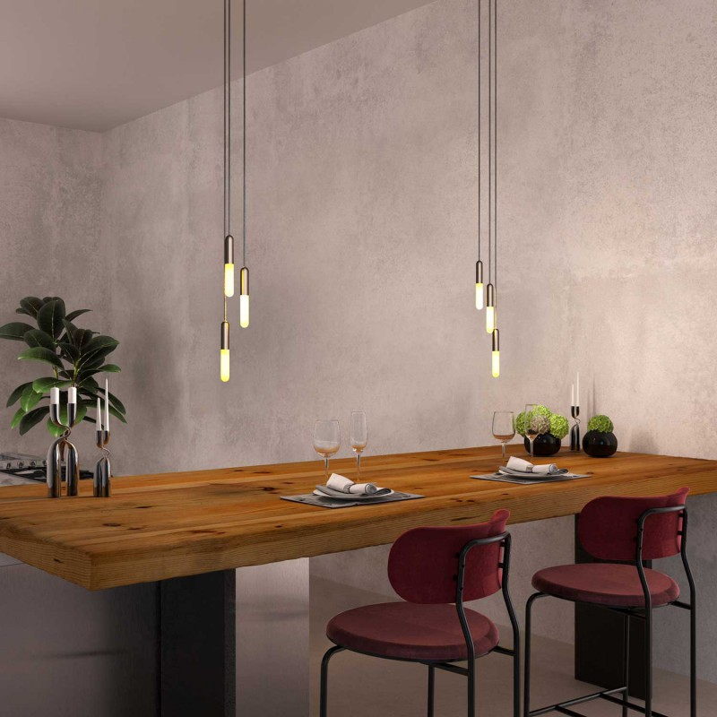 Made in Italy suspension with 3 pendants complete with P-Light, and 200 mm Rose-One