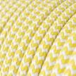 Rund färgad textilkabel, sicksackmönstrad RZ10 - Gul