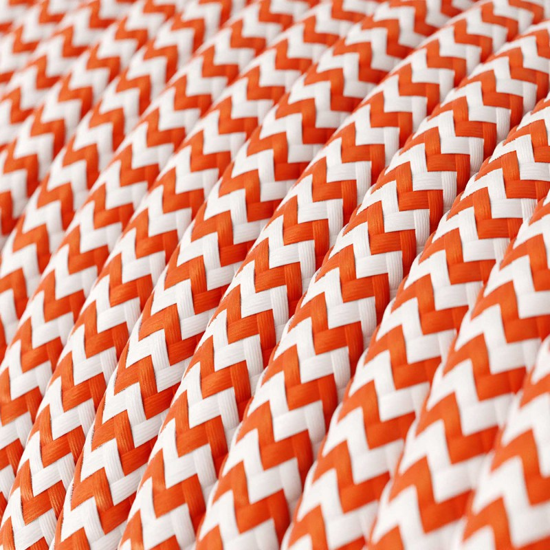 Rund färgad textilkabel, sicksackmönstrad RZ15 - Orange