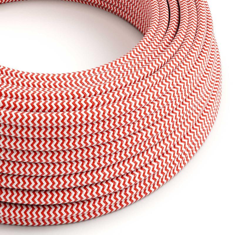 Rund färgad textilkabel, sicksackmönstrad RZ09 - Röd