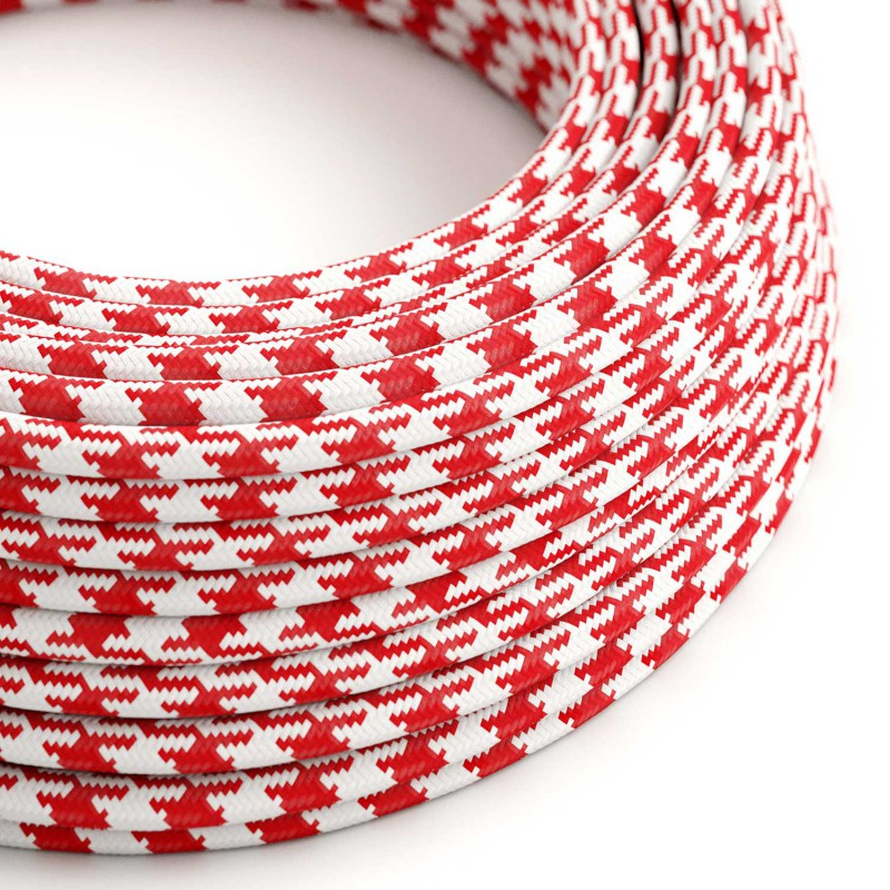Rund pepitamönstrad textilkabel RP09 - Röd