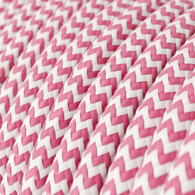 Rund färgad textilkabel, sicksackmönstrad RZ08 - Fucsia