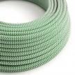 Rund färgad textilkabel, sicksackmönstrad RZ06 - Grön