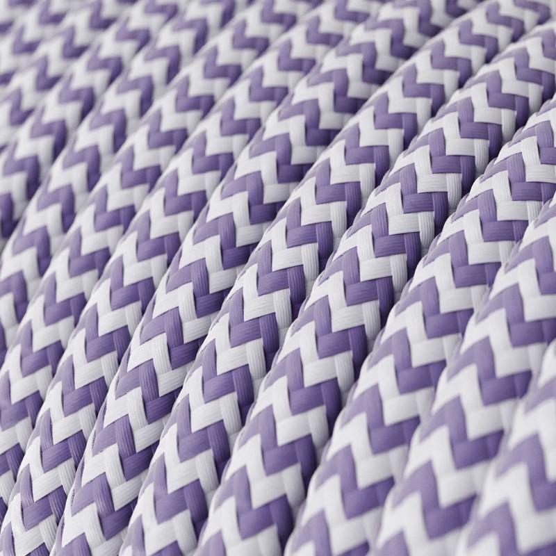 Rund färgad textilkabel, sicksackmönstrad RZ07 - Lila