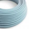 Rund färgad textilkabel, sicksackmönstrad RZ11 - Azurblå