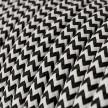 Rund färgad textilkabel, sicksackmönstrad RZ04 - Svart