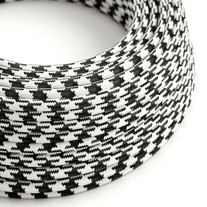 Rund pepitamönstrad textilkabel RP04 - Svart