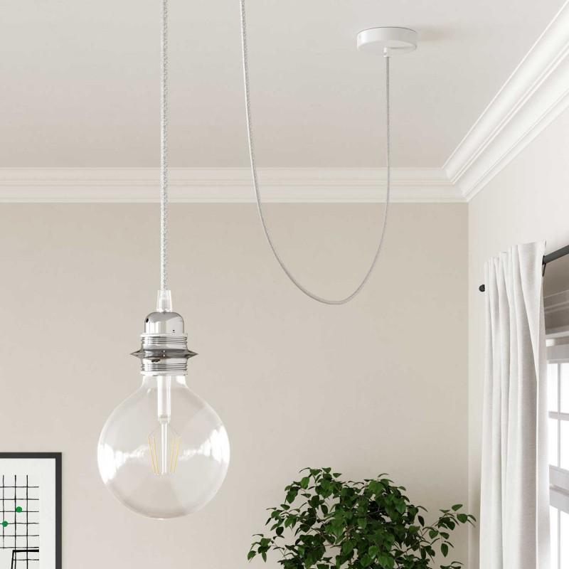 Rund textilkabel, glittrande Flexkabel för belysning RL01 - Vit