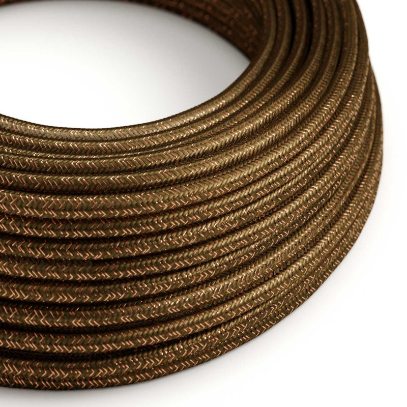 Rund textilkabel, glittrande Flexkabel för belysning RL13 - Brun