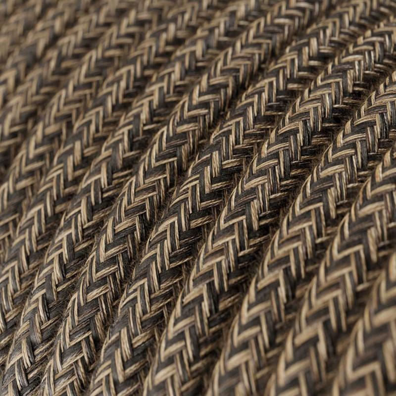 Rund textilkabel RN04 - Brun Canvas