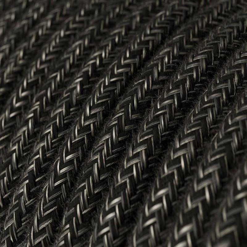 Rund textilkabel RN03 - Natur Mörk Grå
