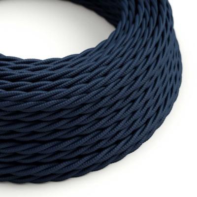 Tvinnad Textilkabel i Rayon/Konstsilke - TM20 Mörkblå