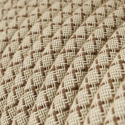 """Rund textilkabel """"Lozenge"""" RD63 i rustikt linne och brun bomull."""