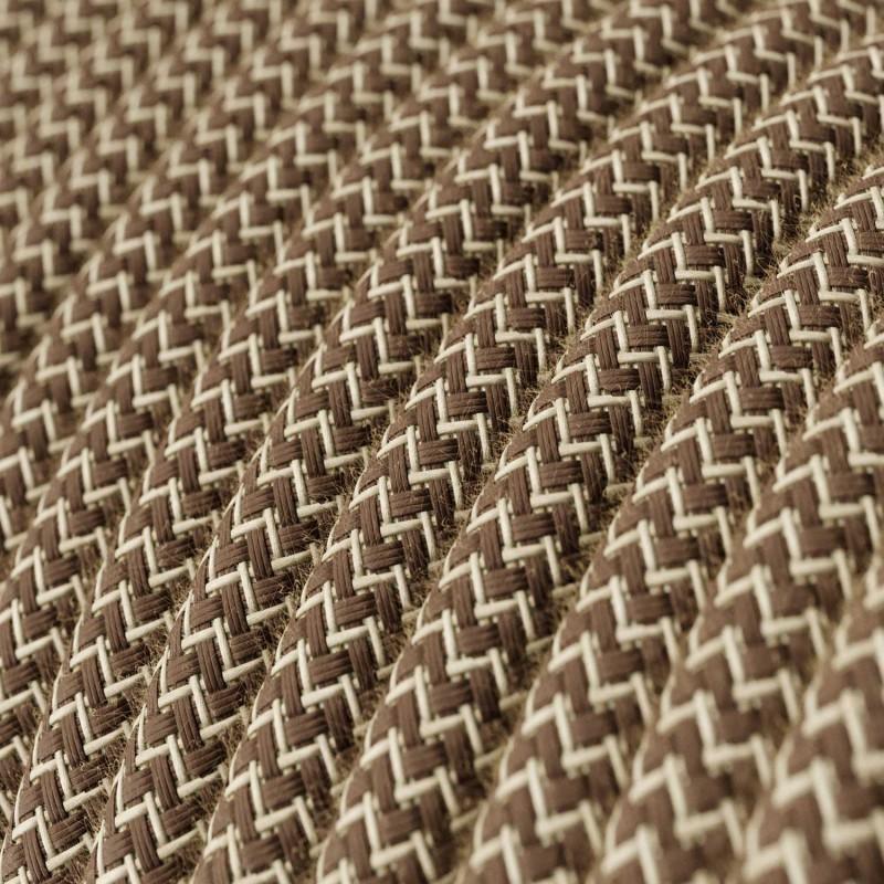 """Rund textilkabel """"ZigZag"""" RD73 i rustikt linne och brun bomull.."""