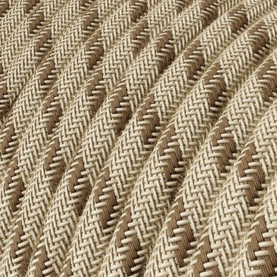 "Round Electric Fabric Cable for lamps, decoration ""Stripes"" RD53 in coarse linen and brown bark cotton."