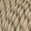 """Round Electric Fabric Cable for lamps, decoration """"Stripes"""" RD53 in coarse linen and brown bark cotton."""