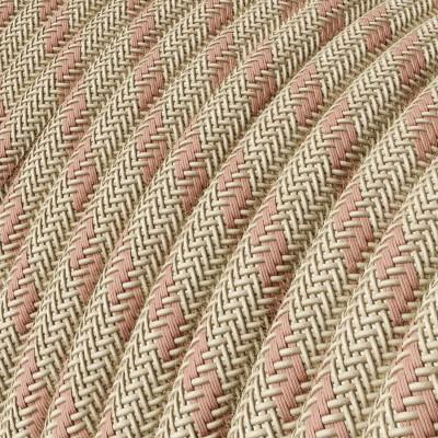 """Rund textilkabel """"Stripes"""" RD51 i rustikt linne och och gammelrosa bomull."""