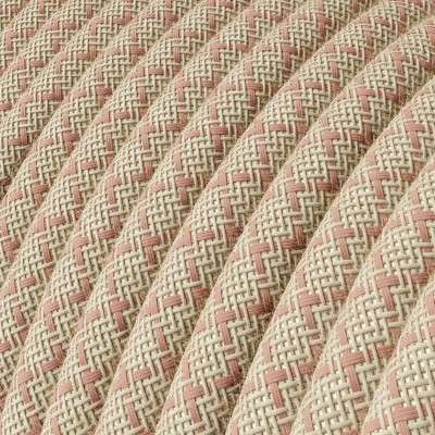 "Rund textilkabel ""Lozenge"" RD61 linne och gammelrosa bomull"