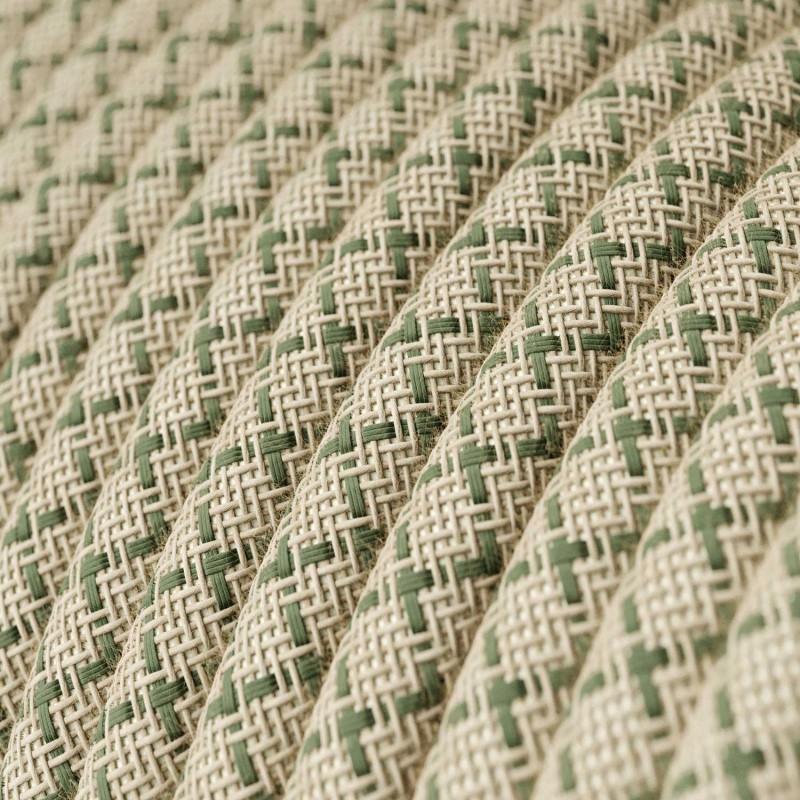 """Rund textilkabel """"Lozenge"""" RD62 i rustikt linne och grön bomull."""