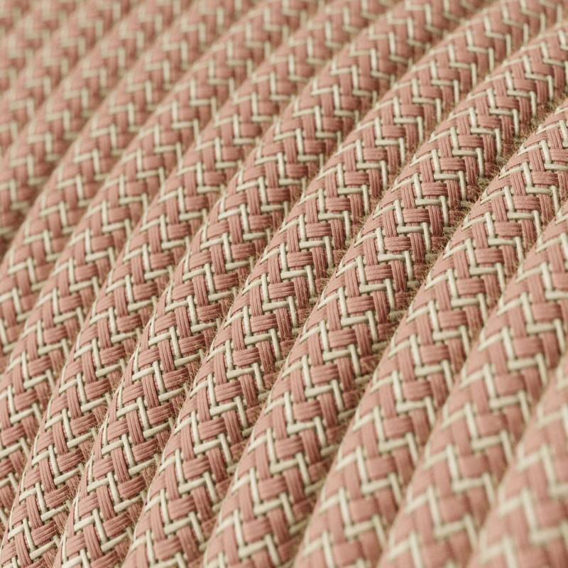 """Rund textilkabel """"ZigZag"""" RD71 i rustikt linne och gammelrosa bomull."""