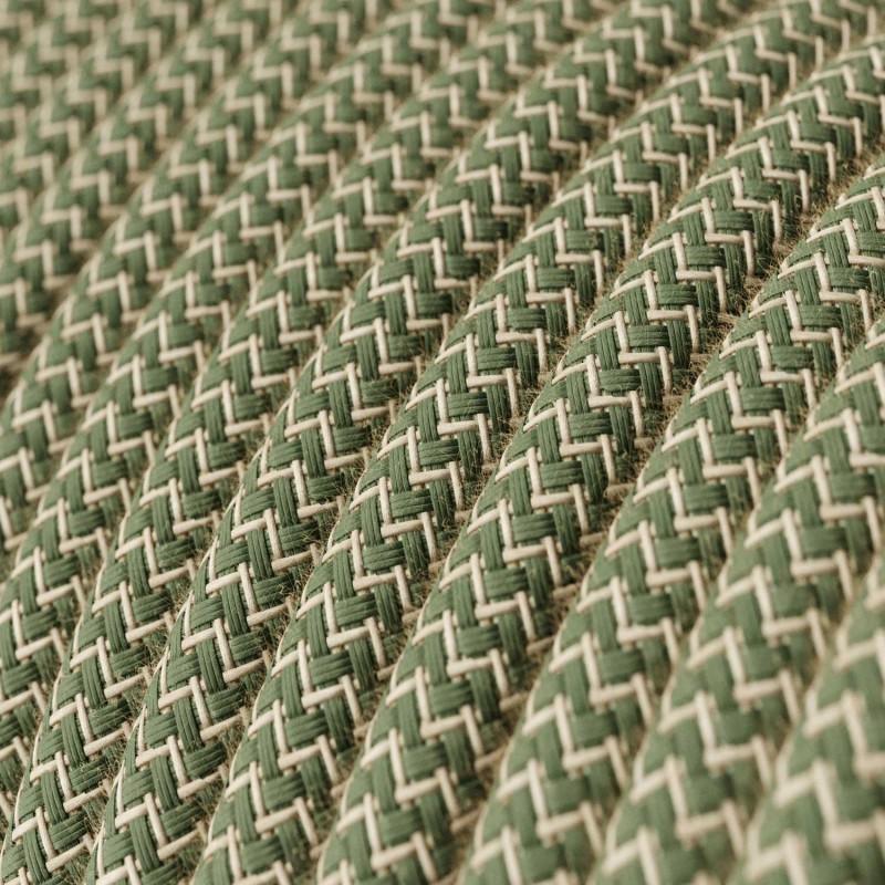 """Rund textilkabel """"ZigZag"""" RD72 i rustikt linne och grön bomull."""